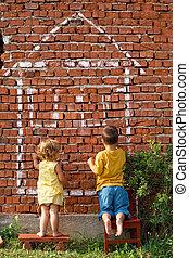 épület, gyerekek, rajz, két
