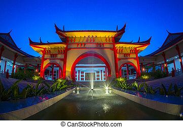 épület, hagyományos, félhomály, kínai, idő