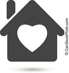 épület icon, lakás, szív, white háttér