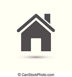 épület, icon., vektor, ábra