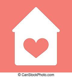 épület, icon., vektor, szív