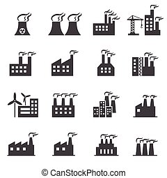 épület, ipari, ikon
