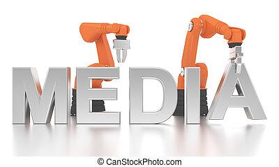 épület, ipari, szó, média, fegyver, robotic
