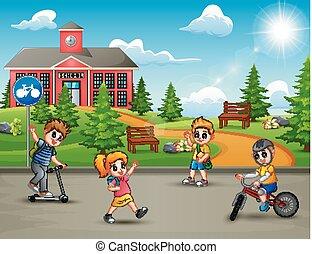 épület, iskola ugrat, elülső, játék, boldog