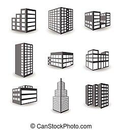 épület, isometric, állhatatos, ikonok, elszigetelt, vektor, háttér, fehér