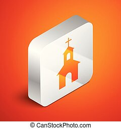 épület, isometric, derékszögben, keresztény, háttér., elszigetelt, ábra, button., vallás, vektor, templom, narancs, church., ezüst, ikon