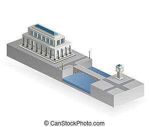 épület, isometric