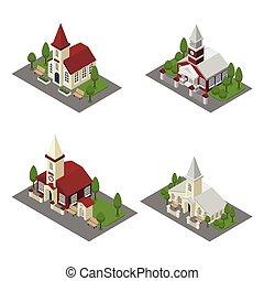 épület, isometric, templom