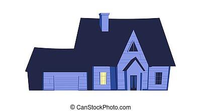 épület, izzó, éjszaka, windows, épület
