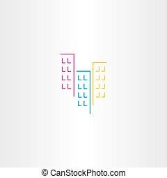épület, jelkép, vektor, ikon, elem