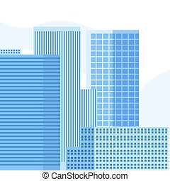 épület, kék, bástya, ég, háttér, vektor, tervezés, mordern, illustration.