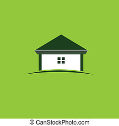épület, kép, zöld, jel
