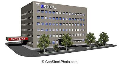 épület, kórház, white háttér