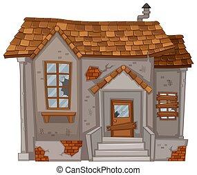 épület, közfal, öreg, romos