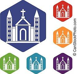 épület, katolikus, állhatatos, keresztény, ikonok, templom