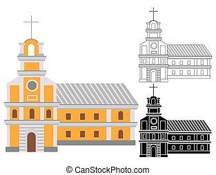 épület, katolikus, tető, kereszt, vallásos, karikatúra