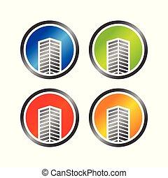 épület, kereskedelmi, kivonat tervezés, ikon