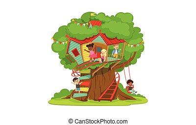 épület, létra, gyerekek, móka, gyerekek, fa, treehouse, játék, vektor, fiú, ábra, boldog, hinta, lány, játszótér, csinos, birtoklás