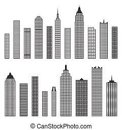 épület, lakás, állhatatos, ikonok, elszigetelt, vektor, háttér, fehér