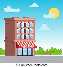 épület, lakás, illustration., emelet, étterem, storefront, kék, vektor, ellen, sky., vagy, először