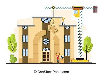 épület, machines., eljárás, munka, épület, vektor, szerkesztés, illustration.