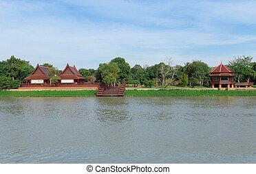 épület, mentén, folyó, thaiföld