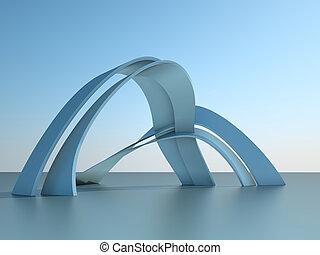 épület, modern, ég, ábra, boltoz, építészet, háttér, 3