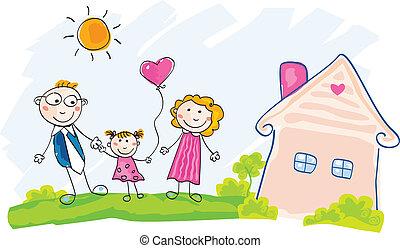 épület, mozgató, család, új