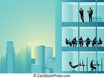 épület, munka hivatal, emberek