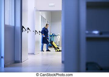 épület, nő, mosás, emelet, dolgozó, hajadon, ipari, takarítás, profi, gépezet