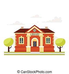 épület, nevelési, könyvtár