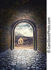 épület, nyílás, út, öreg, kapu, ólmozás, elhagyatott