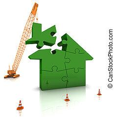 épület, otthon, zöld