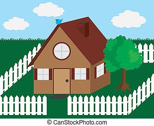 épület, picket kerítés