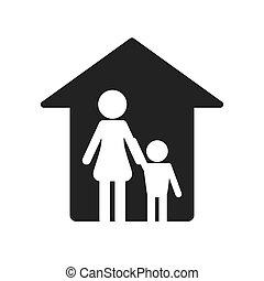 épület, pictogram, család, ikon