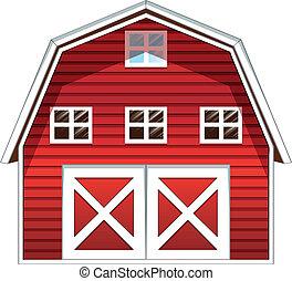 épület, piros szénapajta