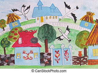 épület, rajz, család, gyermekek