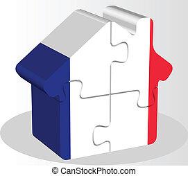 épület, rejtvény, francia lobogó, otthon, ikon