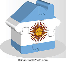 épület, rejtvény, lobogó, argentinian, otthon, ikon