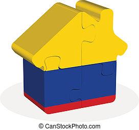 épület, rejtvény, lobogó, colombia, otthon, ikon