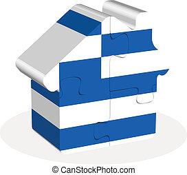 épület, rejtvény, lobogó, görögország, otthon, ikon