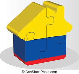 épület, rejtvény, lobogó, otthon, ecuador, ikon