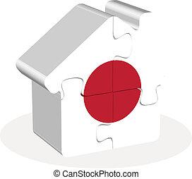 épület, rejtvény, lobogó, otthon, japán, ikon