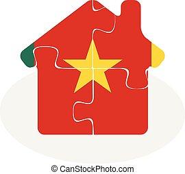 épület, rejtvény, lobogó, otthon, kamerun, ikon