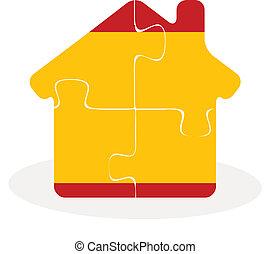 épület, rejtvény, lobogó, otthon, spanyolország, ikon