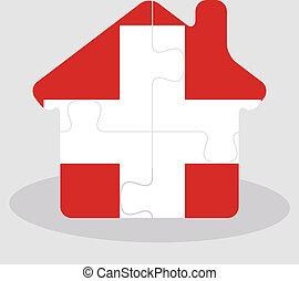 épület, rejtvény, lobogó, svájci, otthon, ikon