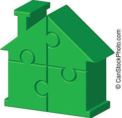 épület, rejtvény, zöld
