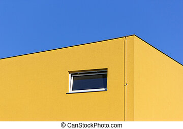 épület, sárga