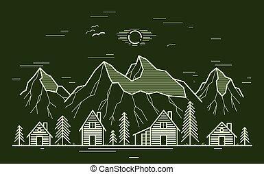 épület, sötét, faház, lőtávolság, fából való, utazás, rest., falu, erdő, erdő, művészet, hegy, ábra, vidéki, lineáris, fahasáb, vidéki táj, bitófák, megtölt rajz, vadon, nyaralók, sóvárog, vektor