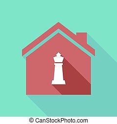 épület, sakkjáték, alak, hosszú, árnyék, király